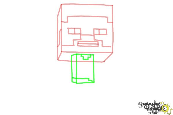 How to Draw a Chibi Steve from Minecraft - Step 4