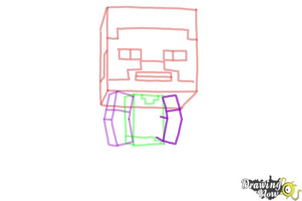 How to draw a chibi steve from minecraft step 6