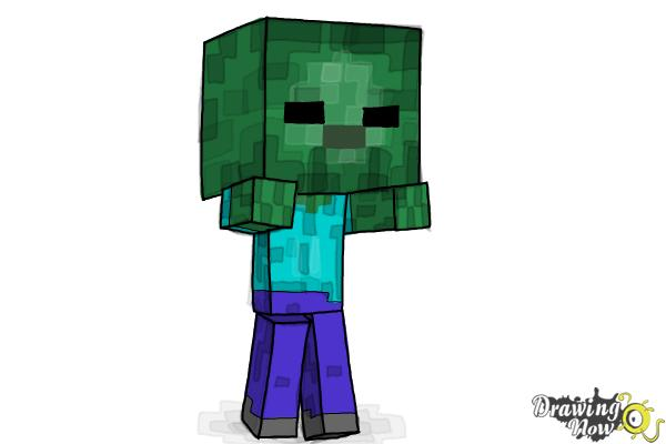How to Draw a Chibi Zombie from Minecraft - DrawingNow