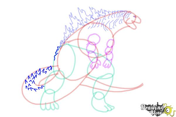 How to Draw Godzilla 2019 - Step 14