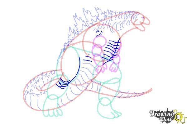 How to Draw Godzilla 2019 - Step 16