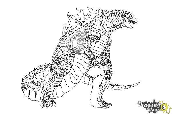 How to Draw Godzilla 2019 - Step 18