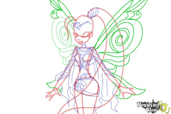 How to Draw Stella, Fairy Of The Shining Sun from Winx - Step 10