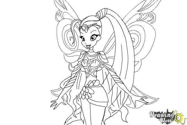 How to draw stella fairy of the shining sun from winx for Stalla ovini dwg