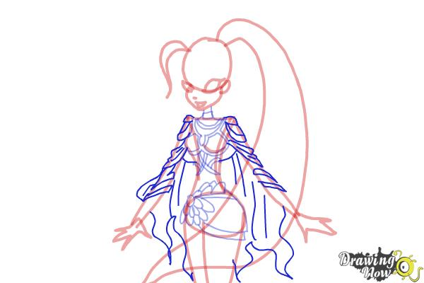 How to Draw Stella, Fairy Of The Shining Sun from Winx - Step 8