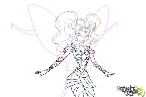 How to Draw Aisha, Fairy Of Waves from Winx - Step 11
