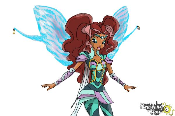 How to Draw Aisha, Fairy Of Waves from Winx - Step 12