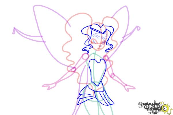 How to Draw Aisha, Fairy Of Waves from Winx - Step 8