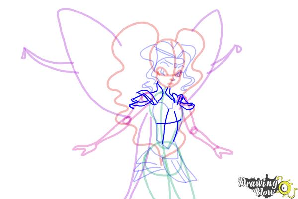 How to Draw Aisha, Fairy Of Waves from Winx - Step 9