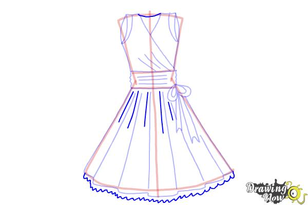 How to Draw a Dress Step by Step - Step 10