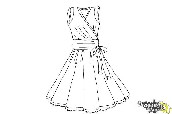 How to Draw a Dress Step by Step - Step 11