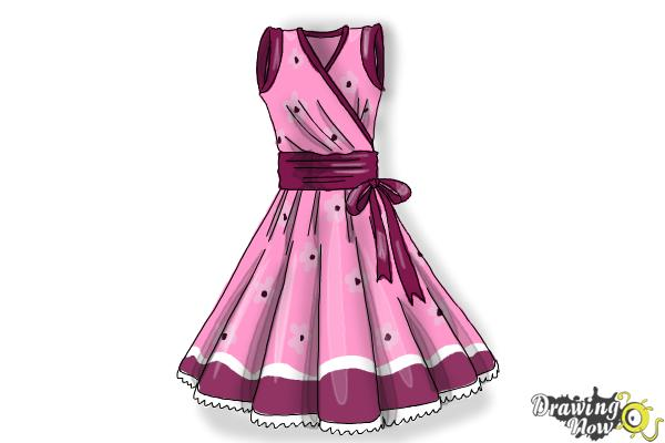 How to Draw a Dress Step by Step - Step 12