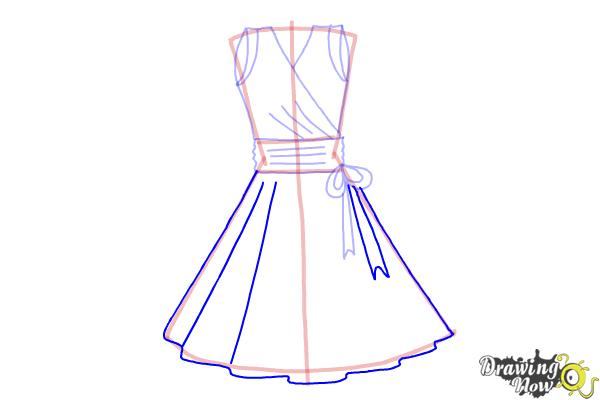 How to Draw a Dress Step by Step - Step 8