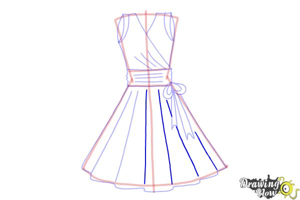 How to Draw a Dress Step by Step - Step 9