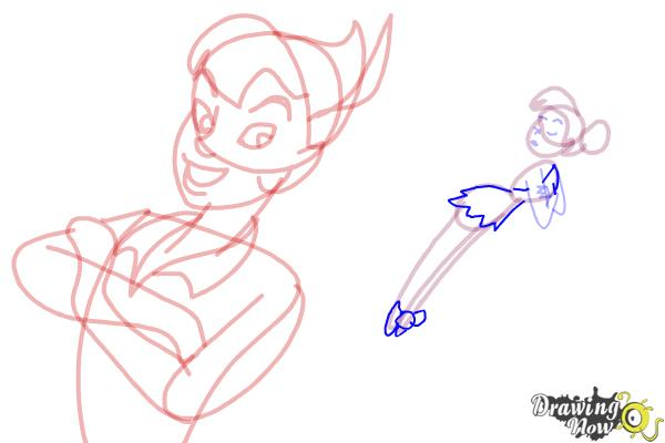 How to Draw Peter Pan And Tinkerbell - Step 11