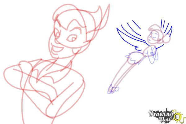 How to Draw Peter Pan And Tinkerbell - Step 12