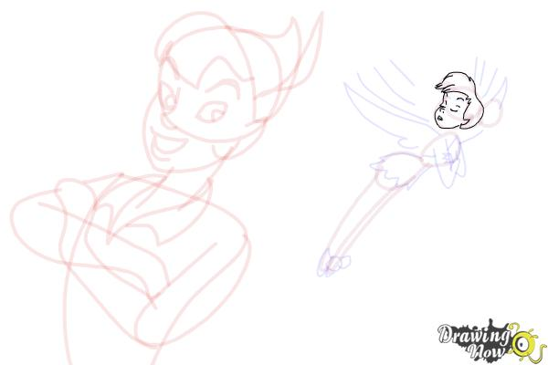 How to Draw Peter Pan And Tinkerbell - Step 13
