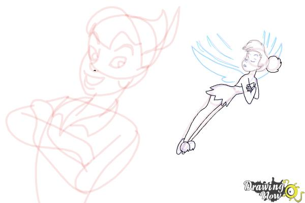 How to Draw Peter Pan And Tinkerbell - Step 14