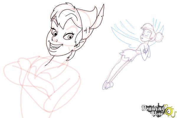 How to Draw Peter Pan And Tinkerbell - Step 15