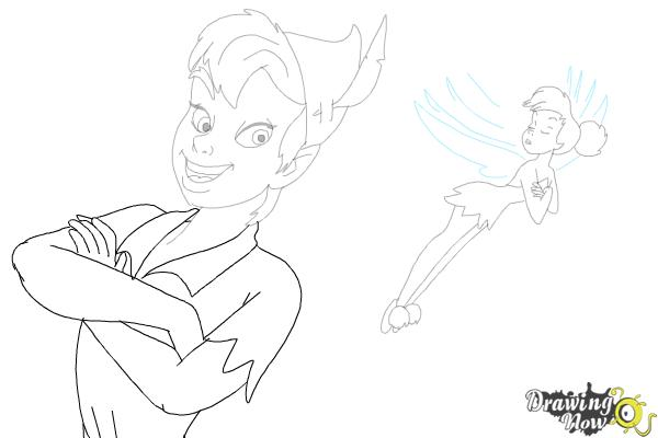 How to Draw Peter Pan And Tinkerbell - Step 16