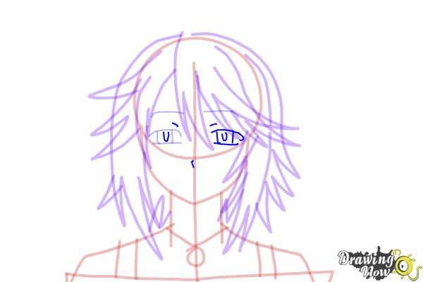 How to Draw Mizore Shirayuki from Rosario + Vampire - Step 12
