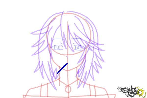 How to Draw Mizore Shirayuki from Rosario + Vampire - Step 13