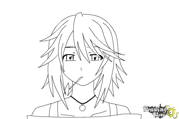 How to Draw Mizore Shirayuki from Rosario + Vampire - Step 14