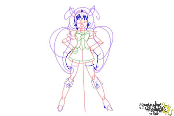 How to Draw Cure Happy, Hoshizora Miyuki from Smile Pretty Cure! - Step 12