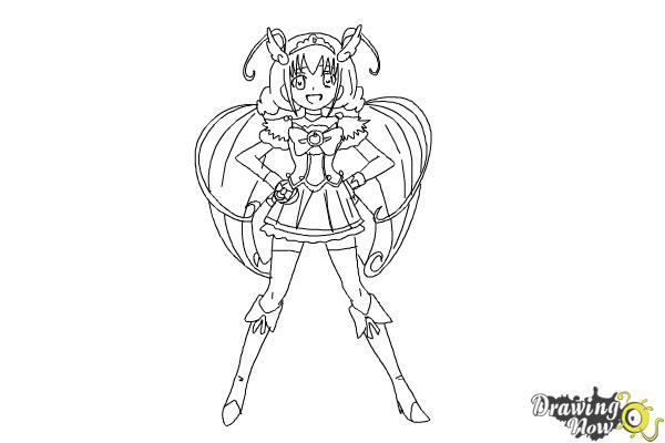How to Draw Cure Happy, Hoshizora Miyuki from Smile Pretty Cure! - Step 13