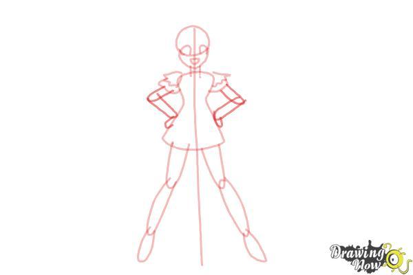 How to Draw Cure Happy, Hoshizora Miyuki from Smile Pretty Cure! - Step 6