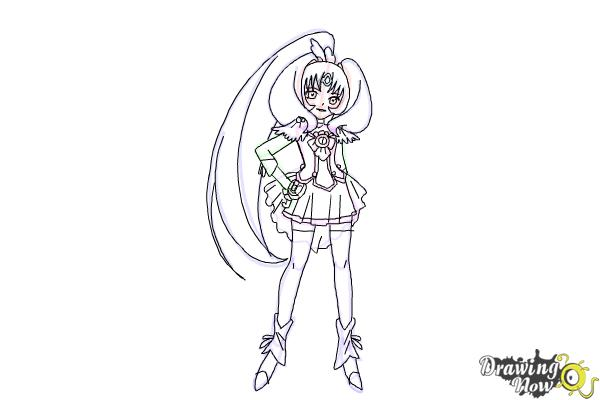 How to Draw Cure March, Midorikawa Nao from Smile Pretty Cure! - Step 10