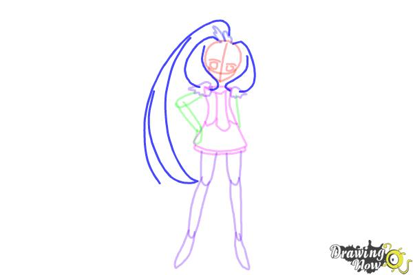 How to Draw Cure March, Midorikawa Nao from Smile Pretty Cure! - Step 7