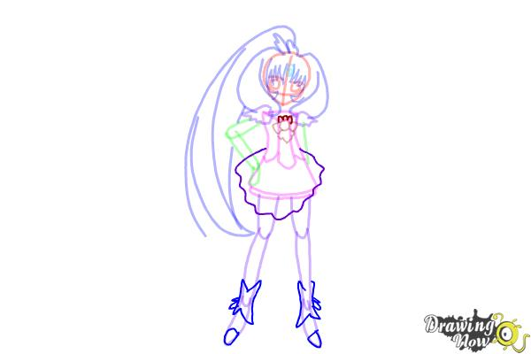 How to Draw Cure March, Midorikawa Nao from Smile Pretty Cure! - Step 9