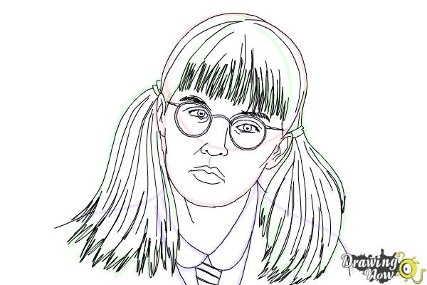 How to Draw Moaning Myrtle from Harry Potter And The Chamber Of Secrets - Step 13