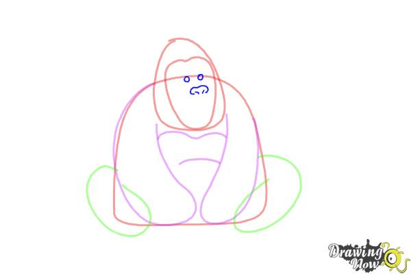 How to Draw a Gorilla For Kids - Step 4