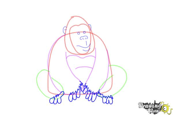 How to Draw a Gorilla For Kids - Step 6