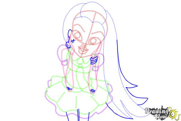 How to Draw Frankie Stein from Monster High - Step 11