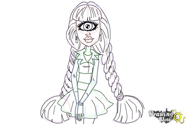 How to Draw Iris Clops from Monster High - Step 12