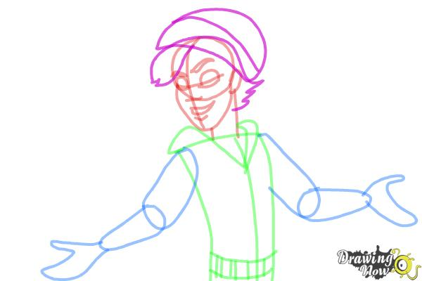 How to Draw Invisi Billy from Monster High - Step 8