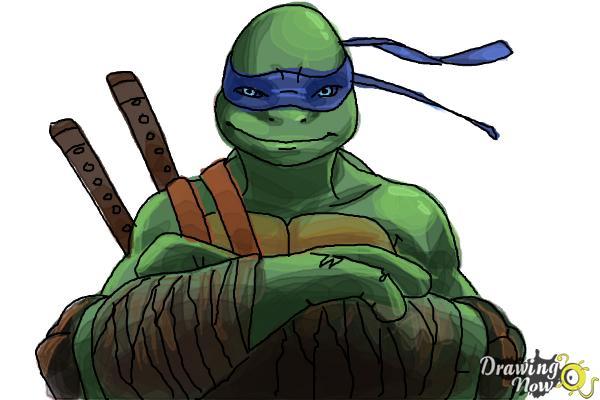 How to Draw Leonardo from Teenage Mutant Ninja Turtles 2014, TMNT - Step 11