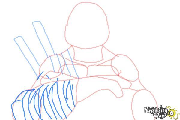 How to Draw Leonardo from Teenage Mutant Ninja Turtles 2014, TMNT - Step 7