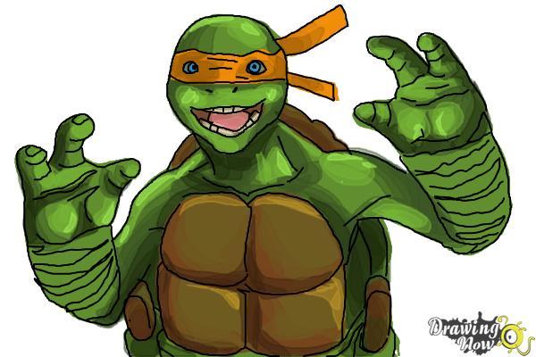 How to Draw Michaelangelo from Teenage Mutant Ninja Turtles 2014, Tmnt - Step 10