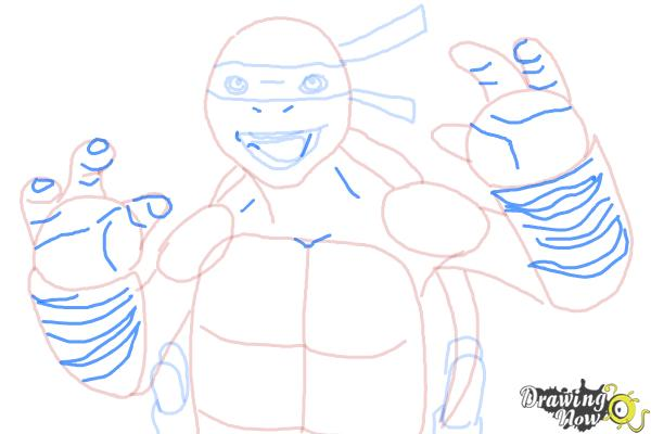 How to Draw Michaelangelo from Teenage Mutant Ninja Turtles 2014, Tmnt - Step 8