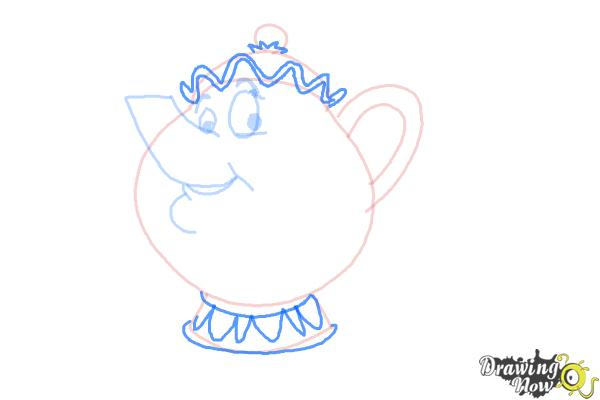 How to Draw Mrs. Potts And Chip from Beauty And The Beast - Step 6