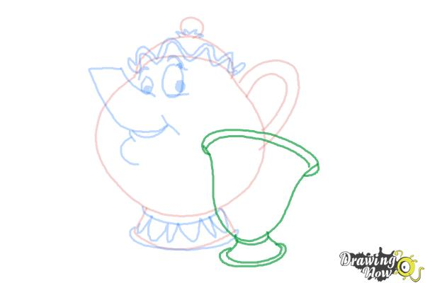 How to Draw Mrs. Potts And Chip from Beauty And The Beast - Step 7