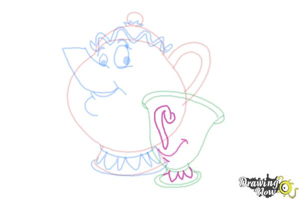 How to Draw Mrs. Potts And Chip from Beauty And The Beast - Step 8