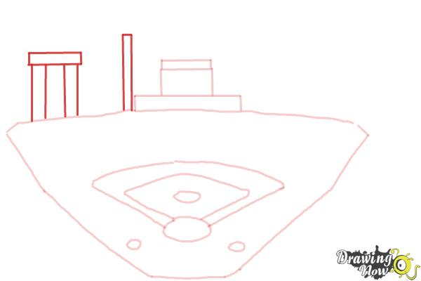 How to Draw The Busch Stadium - Step 6