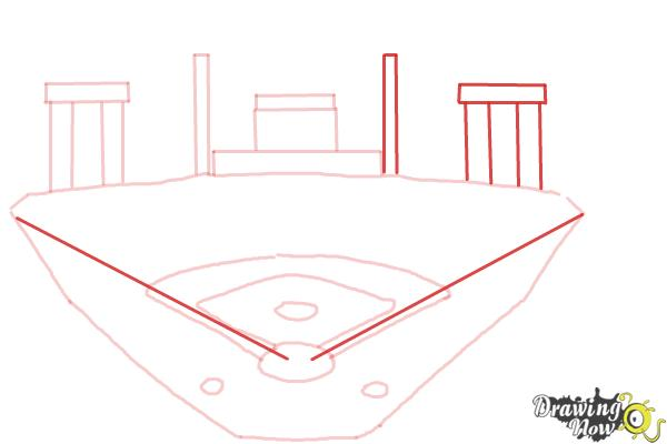 How to Draw The Busch Stadium - Step 7