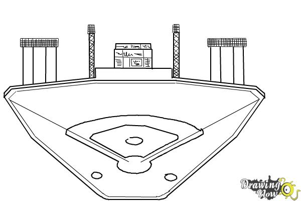 How to Draw The Busch Stadium - Step 8