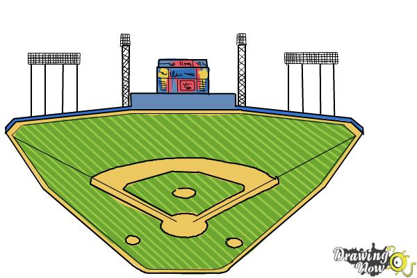 How to Draw The Busch Stadium - Step 9